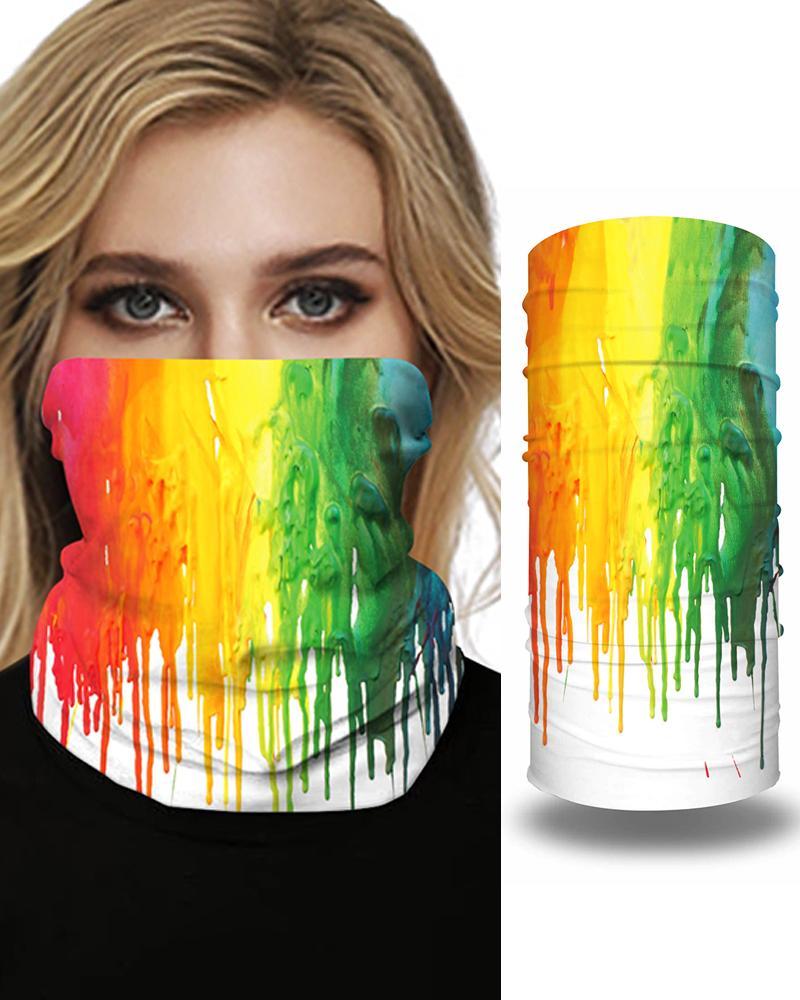 Tie Dye Grid Print Colorblock Face Bandana Magic Scarf Headwrap Balaclava, Style2
