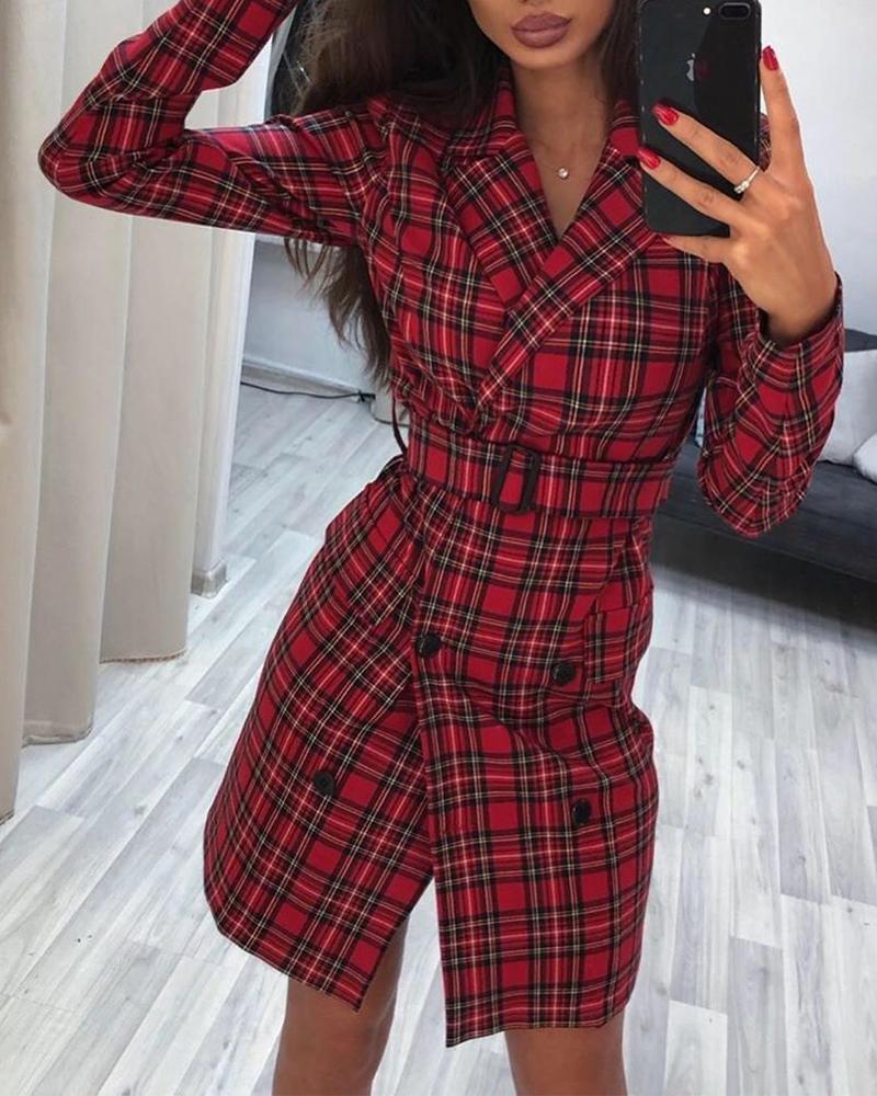 chicme / Vestido mini blazer con cinturón a cuadros