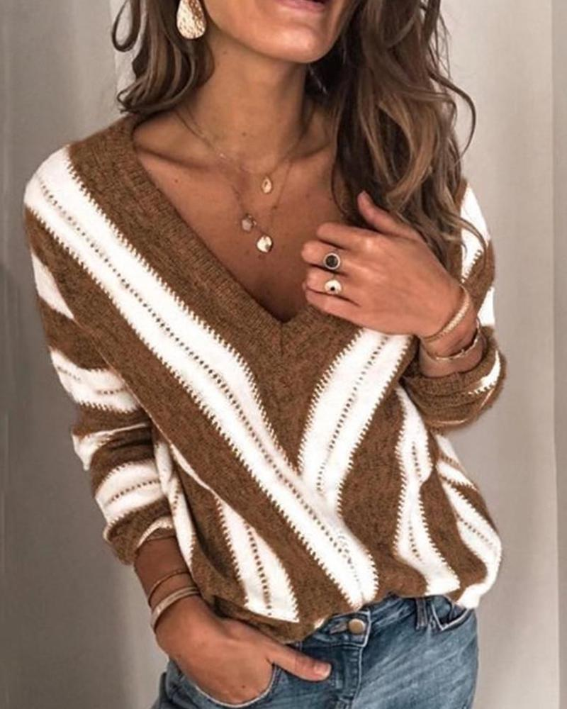 V Neck Strped Long Sleeve Top фото