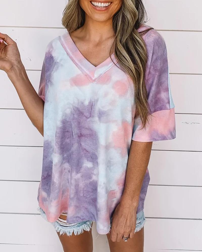 Tie Dye Print V-neck Casual T-shirt фото