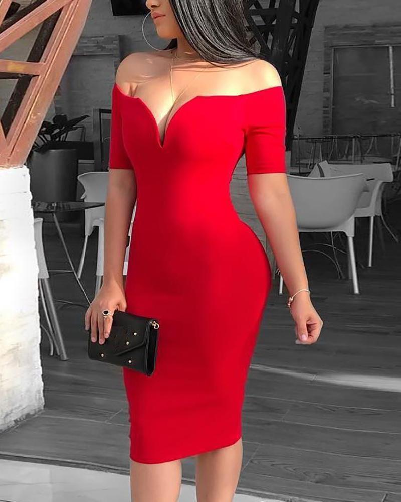 Solid Off Shoulder Short Sleeve Midi Dress фото