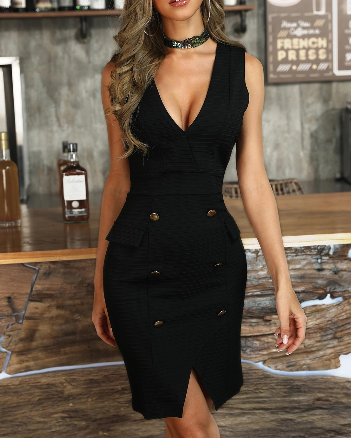 Double Breasted V-Neck Slit Bodycon Dress