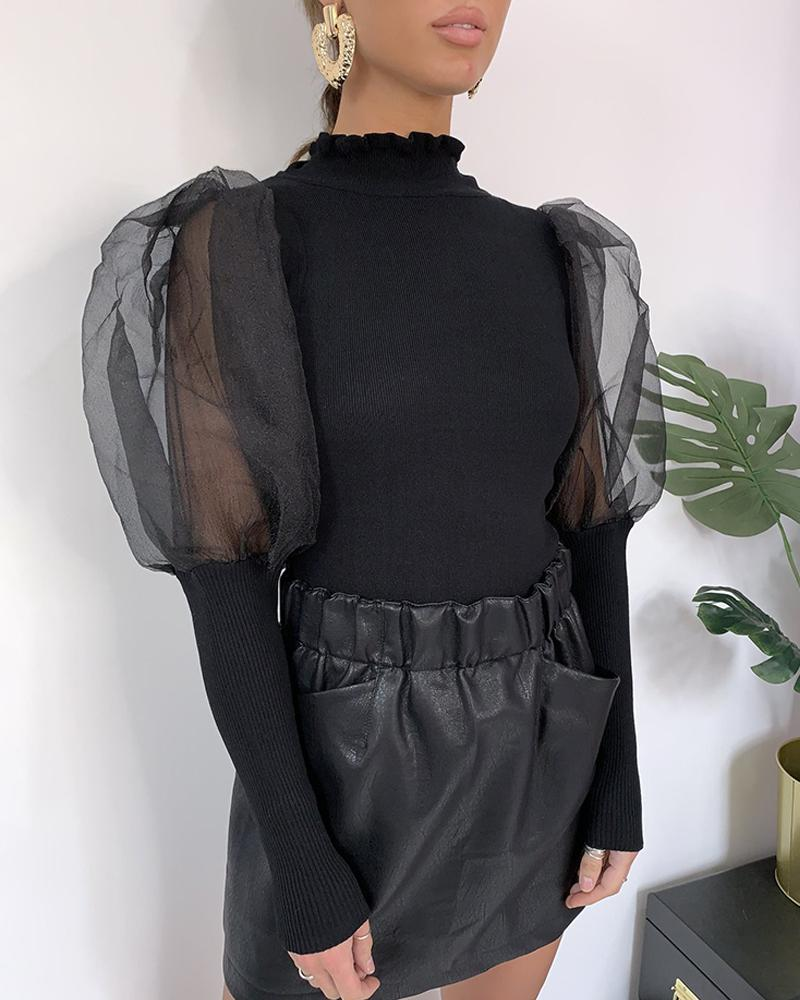 Solid Patchwork Mesh Puff Sleeve Blouse фото