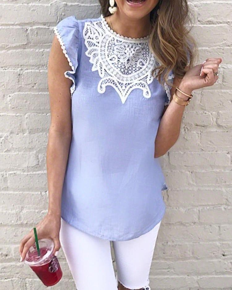 chicme / Crochet Lace Splicing Flutter Sleeve Casual Blouse