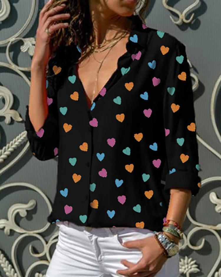 boutiquefeel / Camisa de manga comprida de impressão em forma de coração