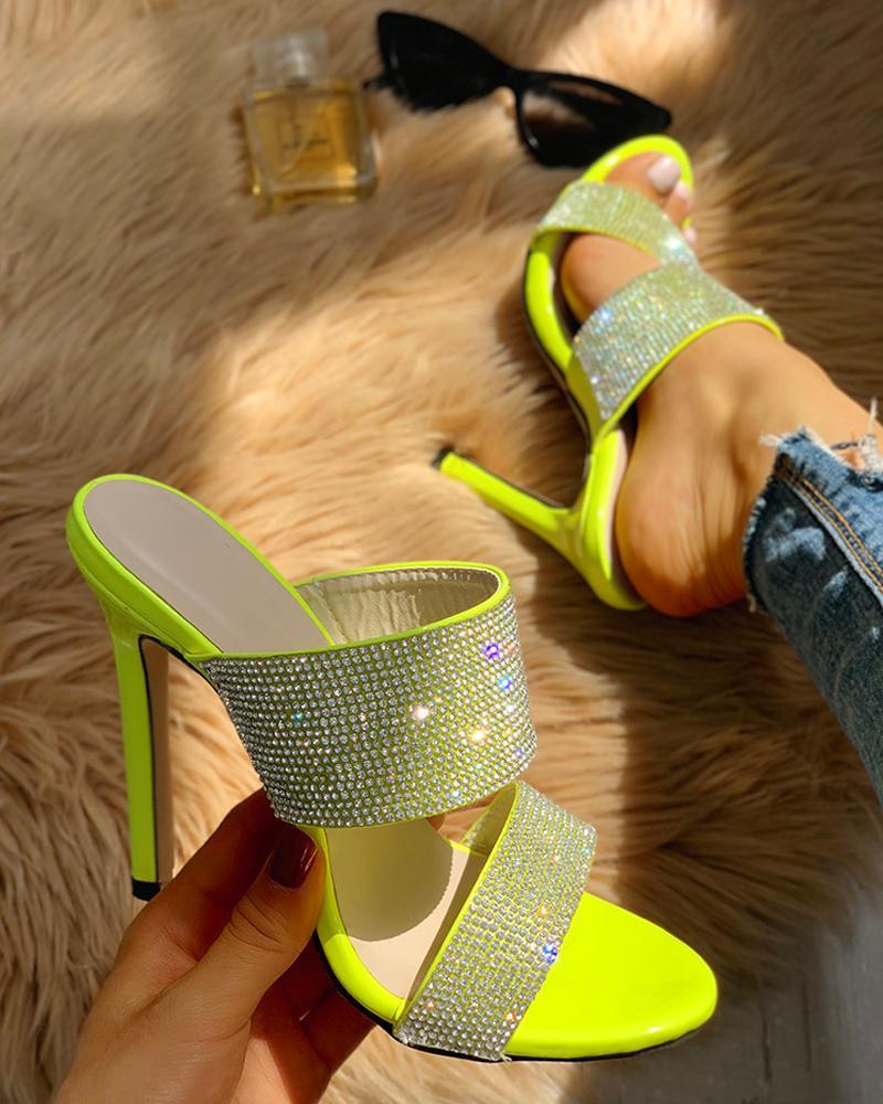 Gem-Studded Slingback Thin Heels фото