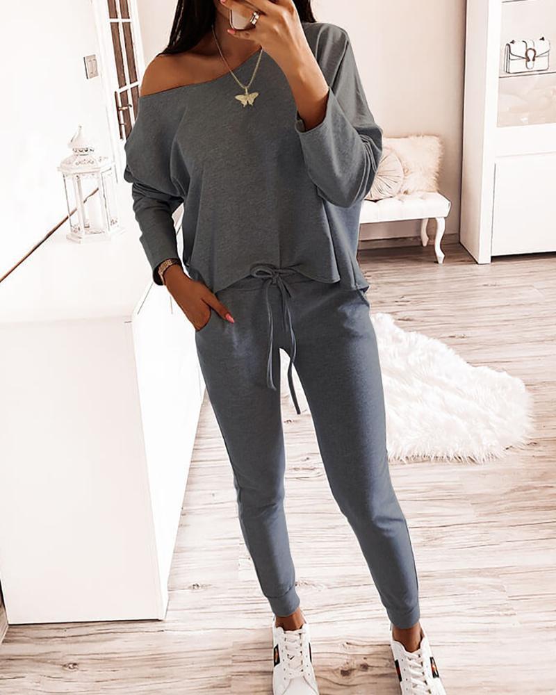 One Shoulder Top & Drawstring Pants Set фото