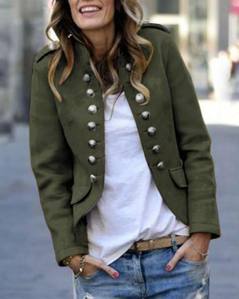 chicme / Casaco de botão de manga comprida casual blazer