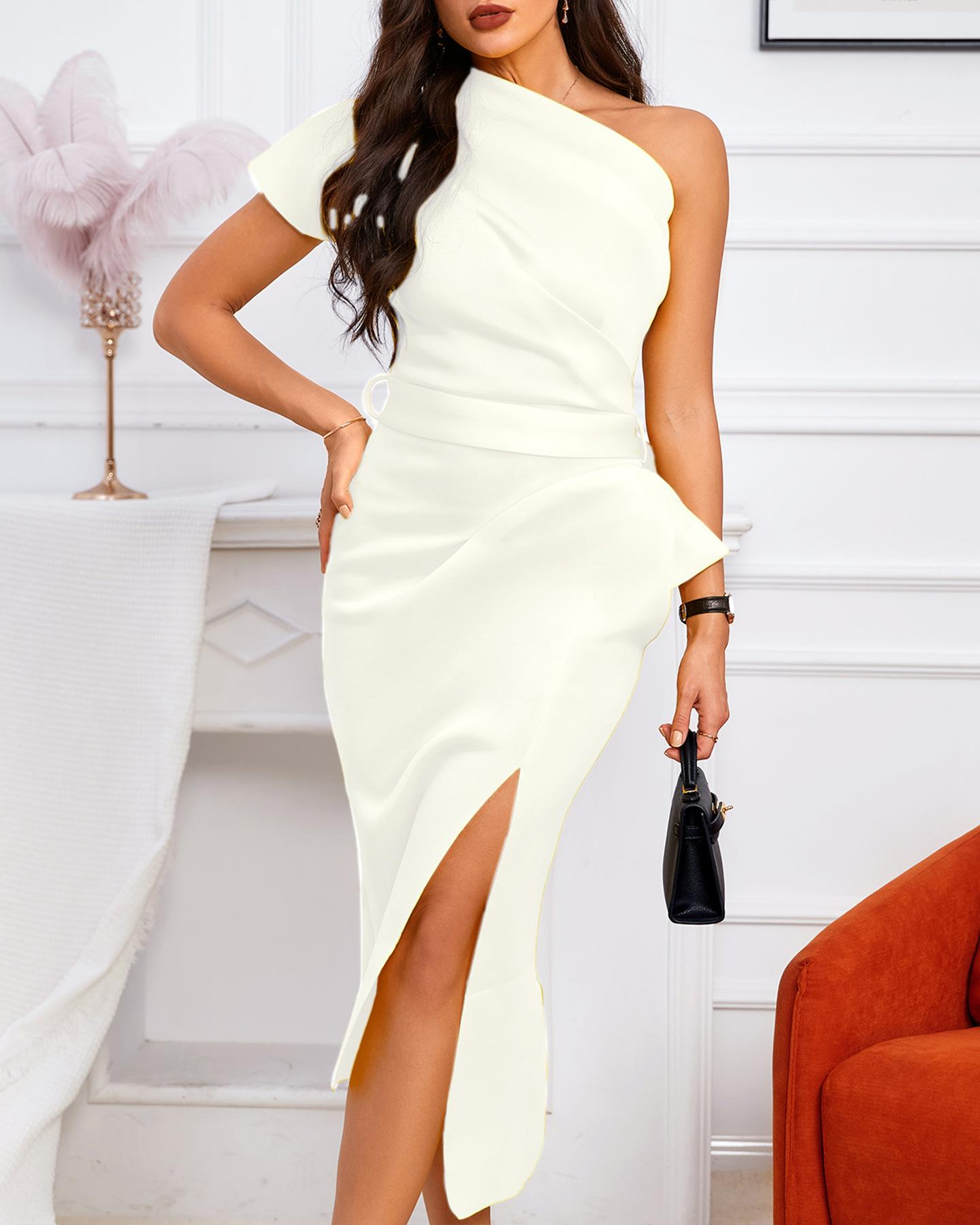 One Shoulder Ruched Irregular Party Dress, White