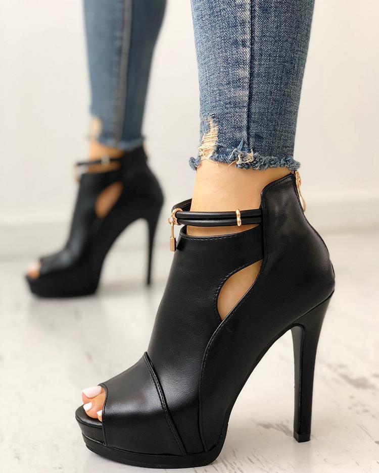 ivrose / Solid Peep Toe Cutout Platform Thin Heels