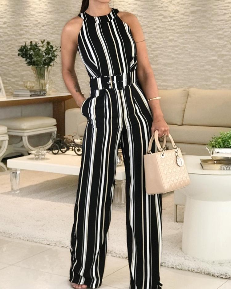 Halter Striped Sleeveless Belted Jumpsuits