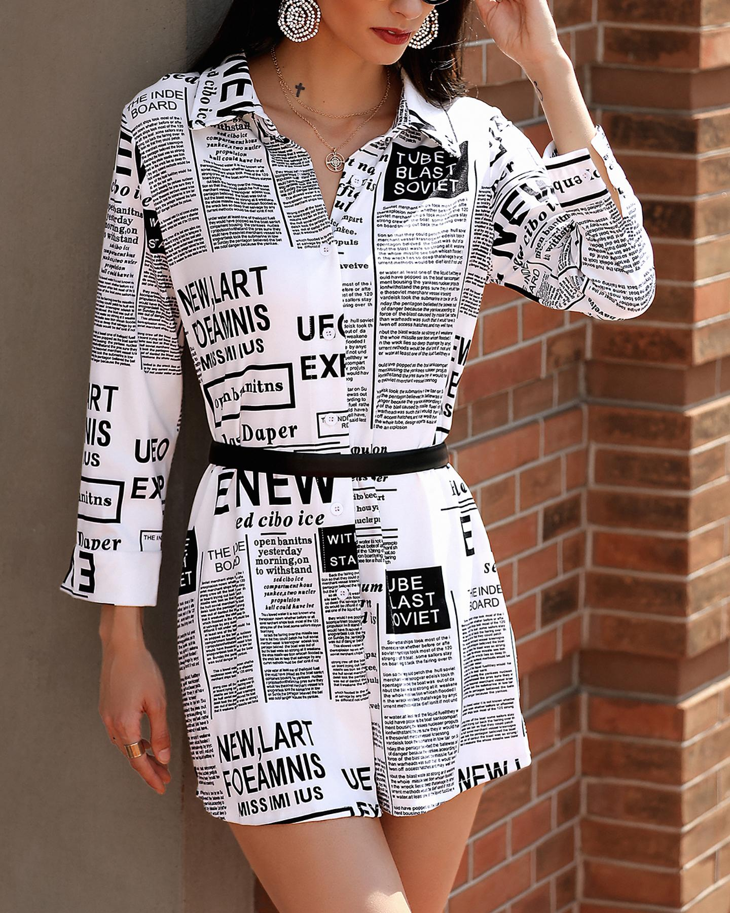 Newspaper Print Long Sleeve Casual Shirt фото