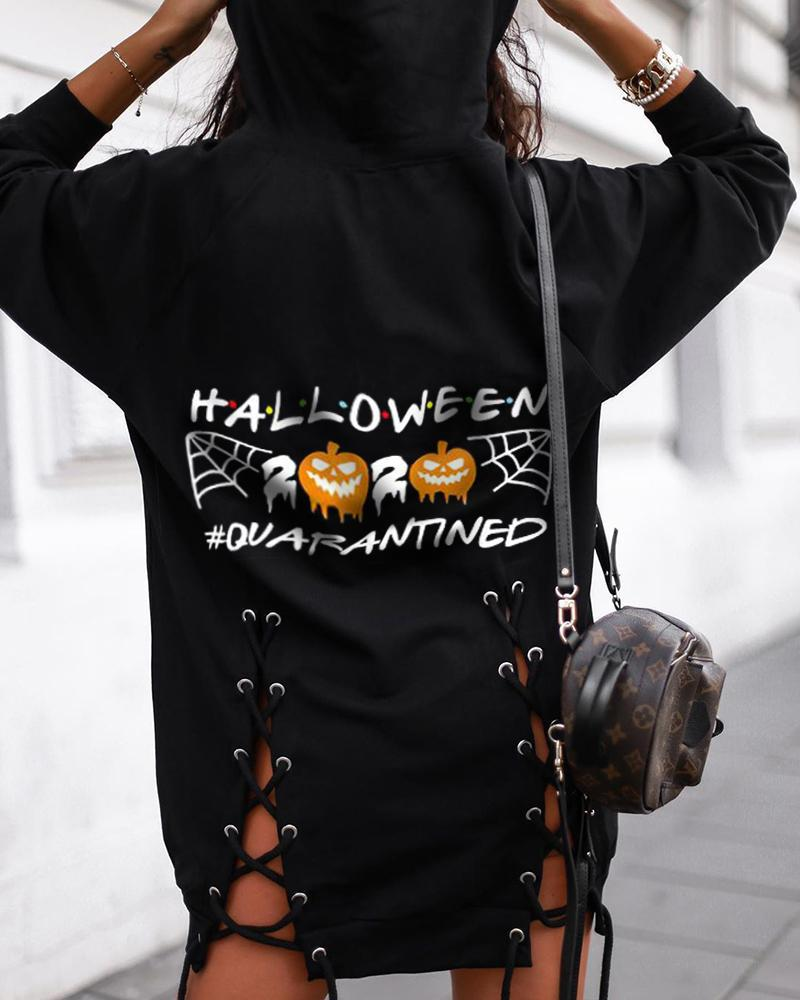 Halloween Pumpkin Letter Print Eyelet Lace-up Hooded Top фото