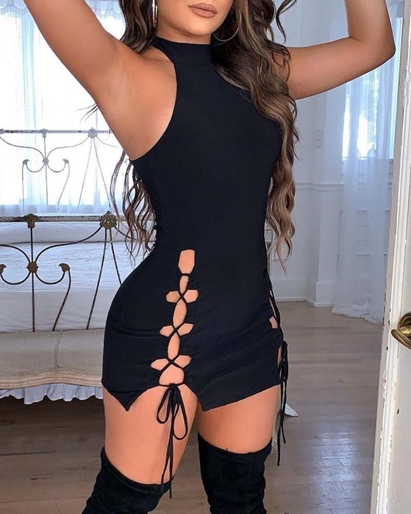 boutiquefeel / Sólido oco Out Lace-Up vestido sem mangas Bodycon