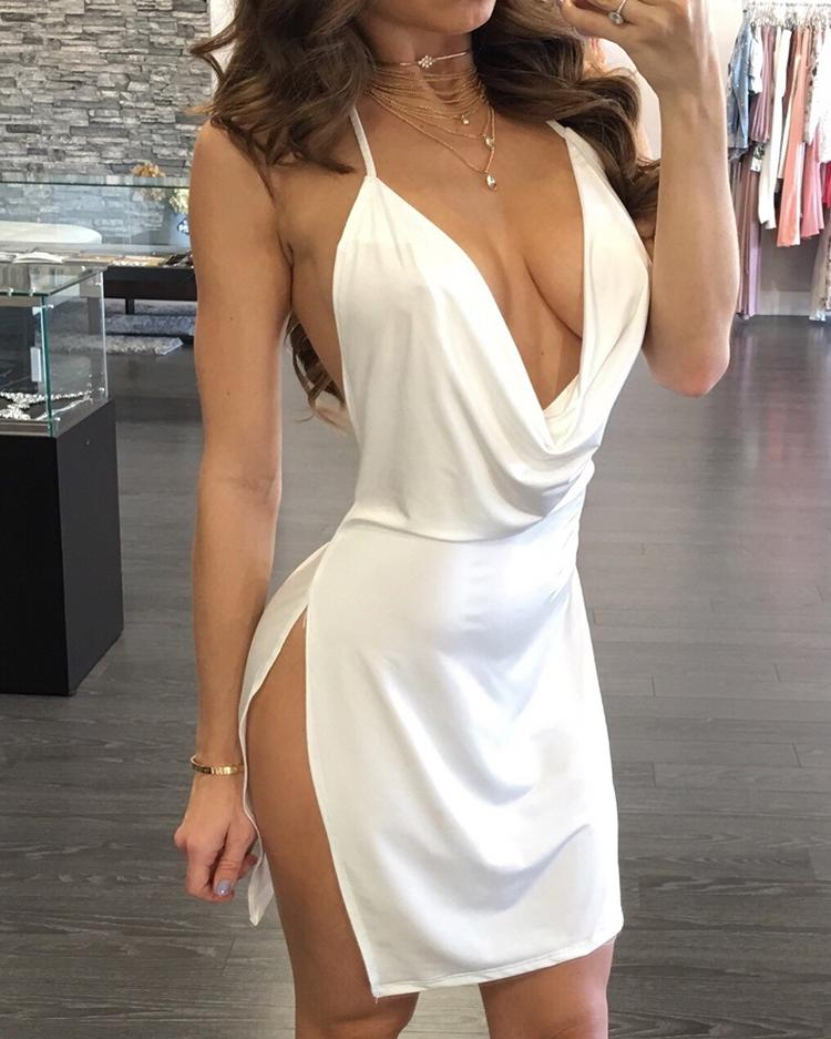 Sexy Backless Halter Neck Plunged Dress, Red;wine red;white;black;army green;hot pink