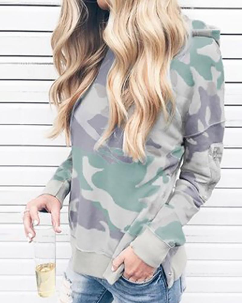 Long Sleeve Camouflage Hooded Top фото