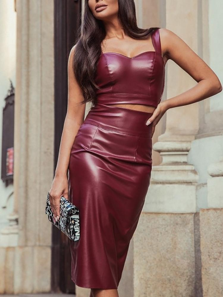 PU Thin Strap Crop Top & Slinky Skirt Sets