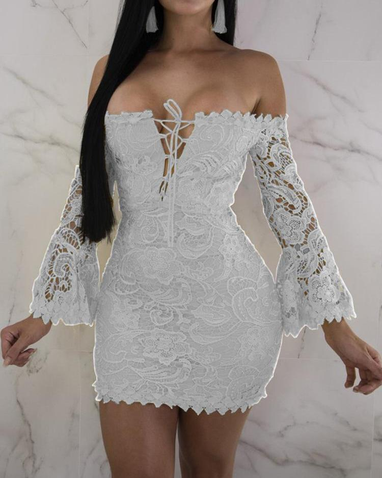 57491d9a881b Off Shoulder Flare Sleeve Lace-up Bodycon Dress, White - chicme.com -  imall.com