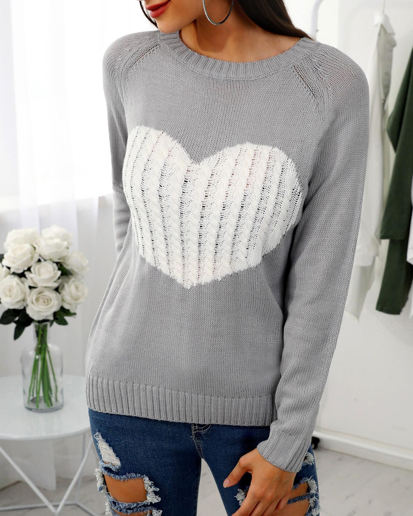 Heart Pattern Long Sleeve Casual Sweater