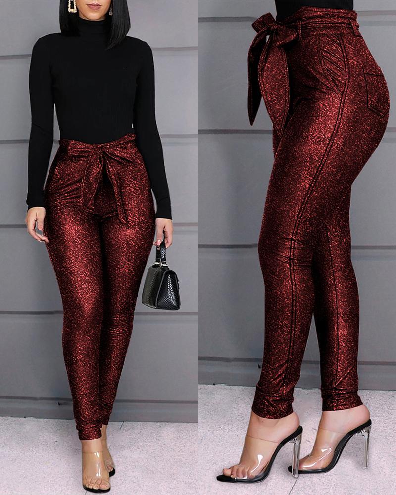 ivrose / Pantalones brillantes con cinturón de cintura alta