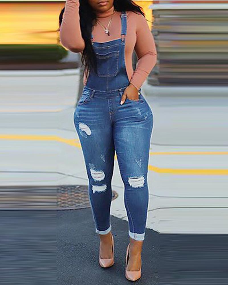 Ripped Cutout Denim Suspender Jumpsuit фото