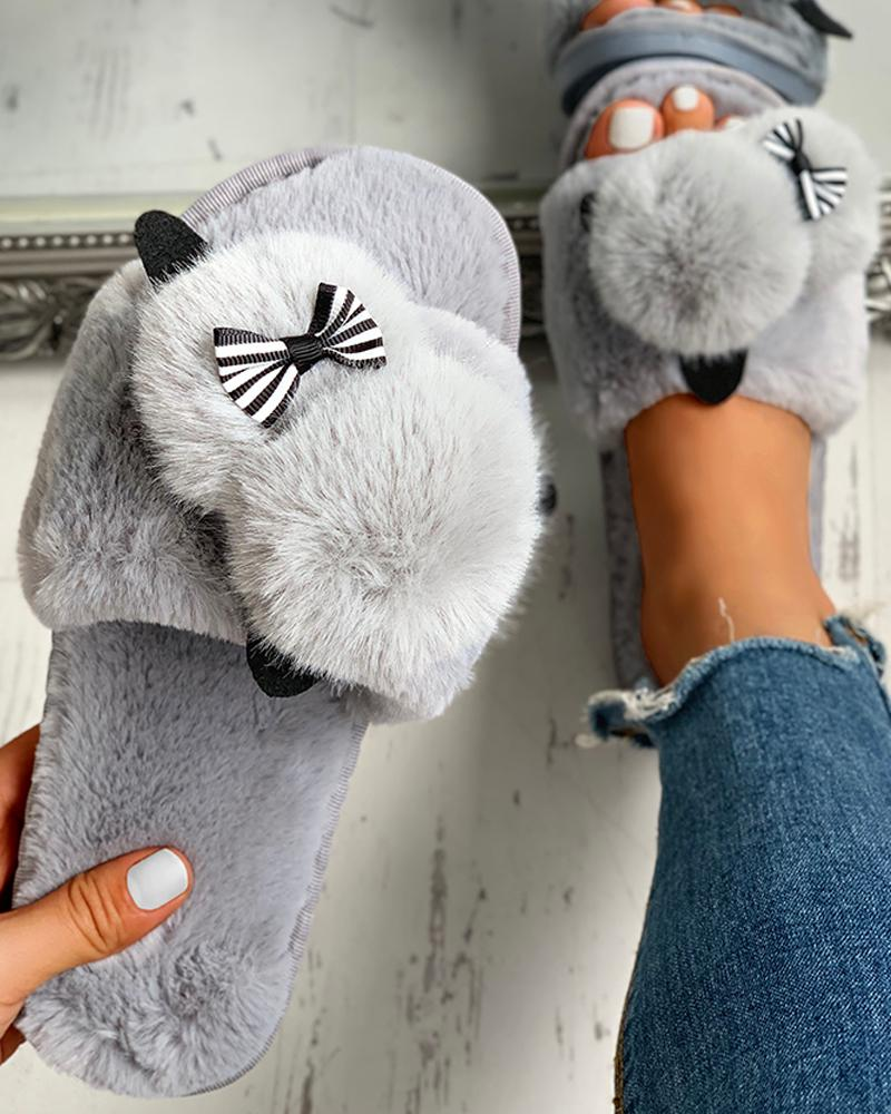Fluffy Pom Pom Bowknot Embellished Open Toe Flat Slippers фото