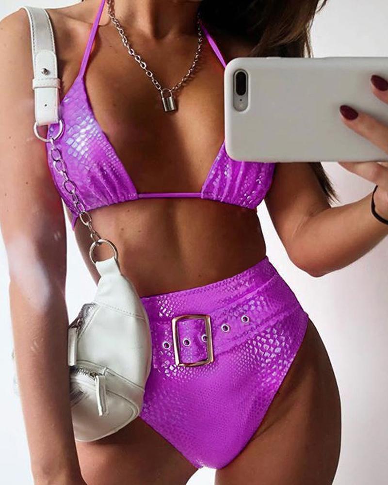 chicme / Conjunto de bikinis de cintura alta de cocodrilo halter