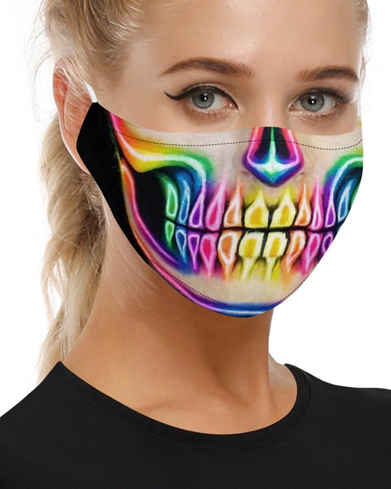 Skull Print Breathable Mouth M .a. s. k Washable And Reusable With 2PCS Replaceable Filter фото