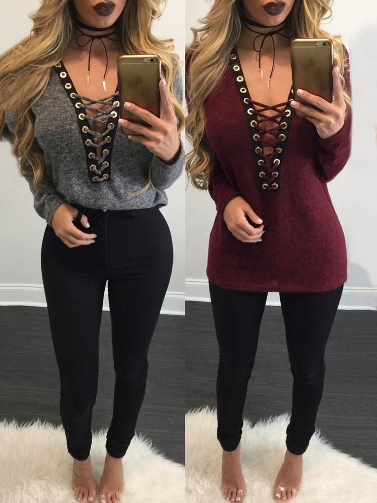 Stylish Women Lace Cross Plunge Top