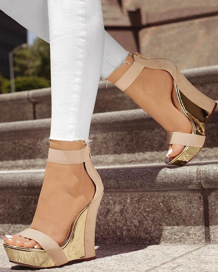Open Toe Back Zipper Wedges Sandals, Beige