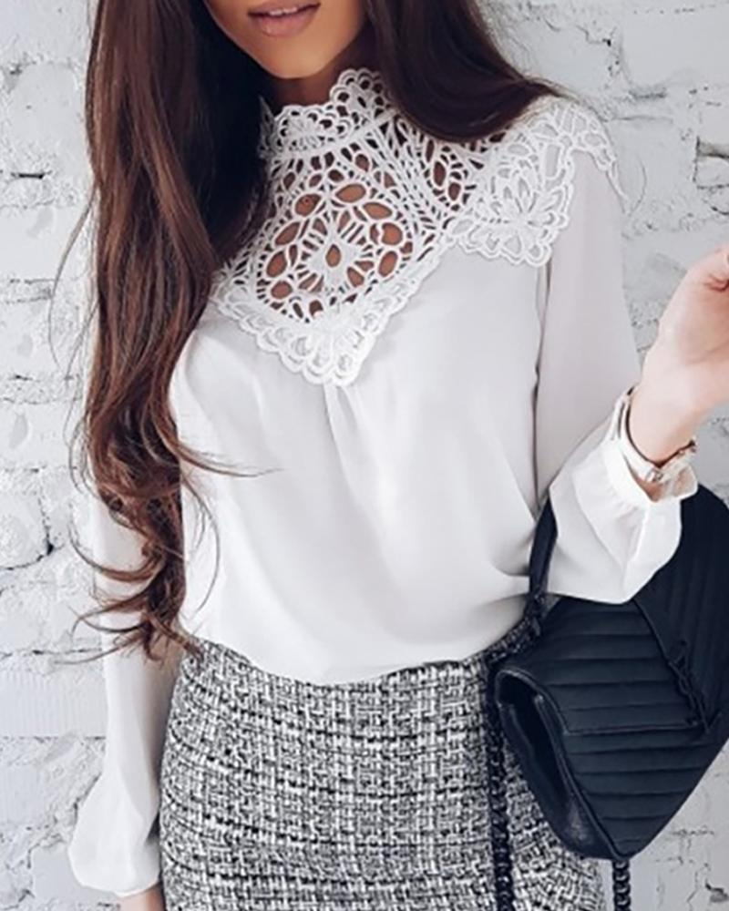 Lace Embroidery Hollow Out Casual Blouse фото