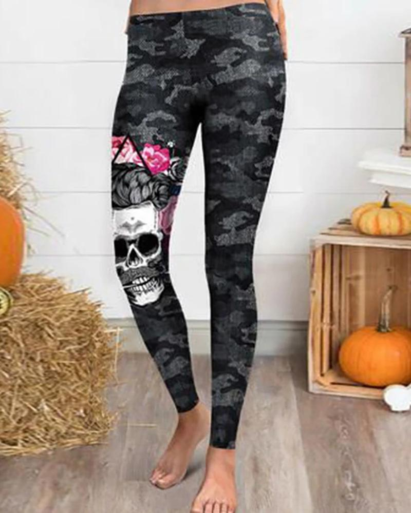 Halloween Skull Floral Print Camouflage Pants фото