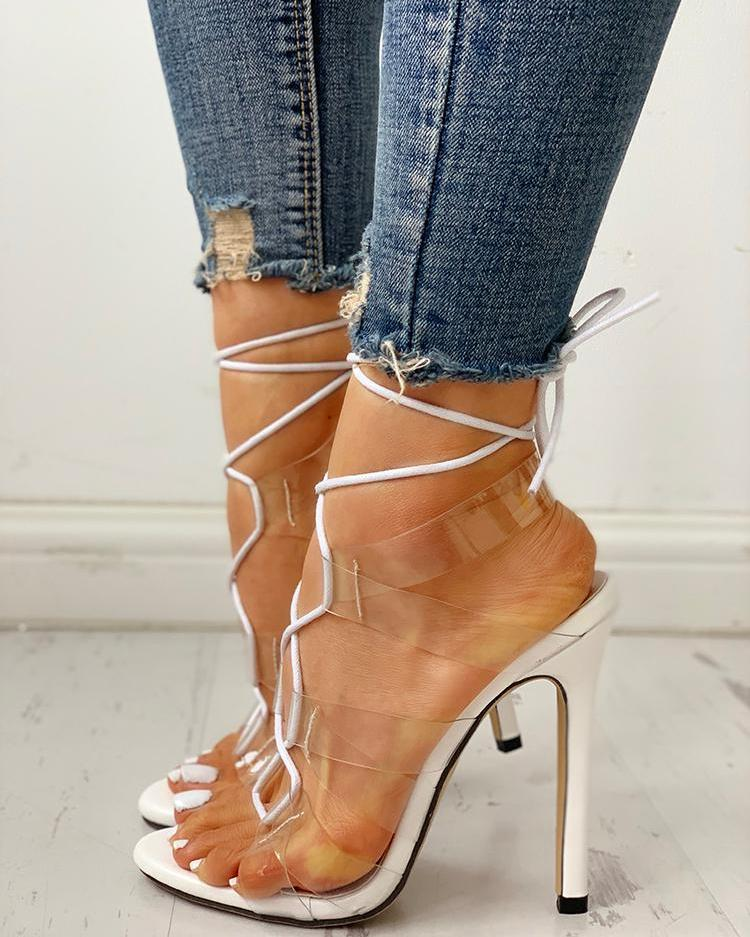 Transparent Strap Lace-Up Thin Heeled Sandals фото