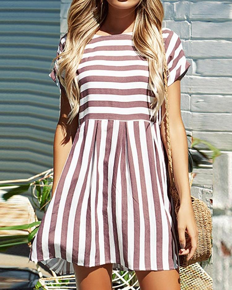 Striped Short Sleeve Casual Tunic Dress