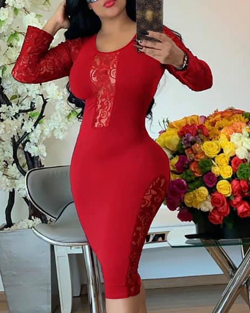 Solid Round Neck Long Sleeve Lace Insert Bodycon Dress фото