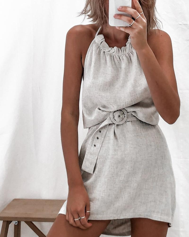 Halter Backless Mini Dress фото