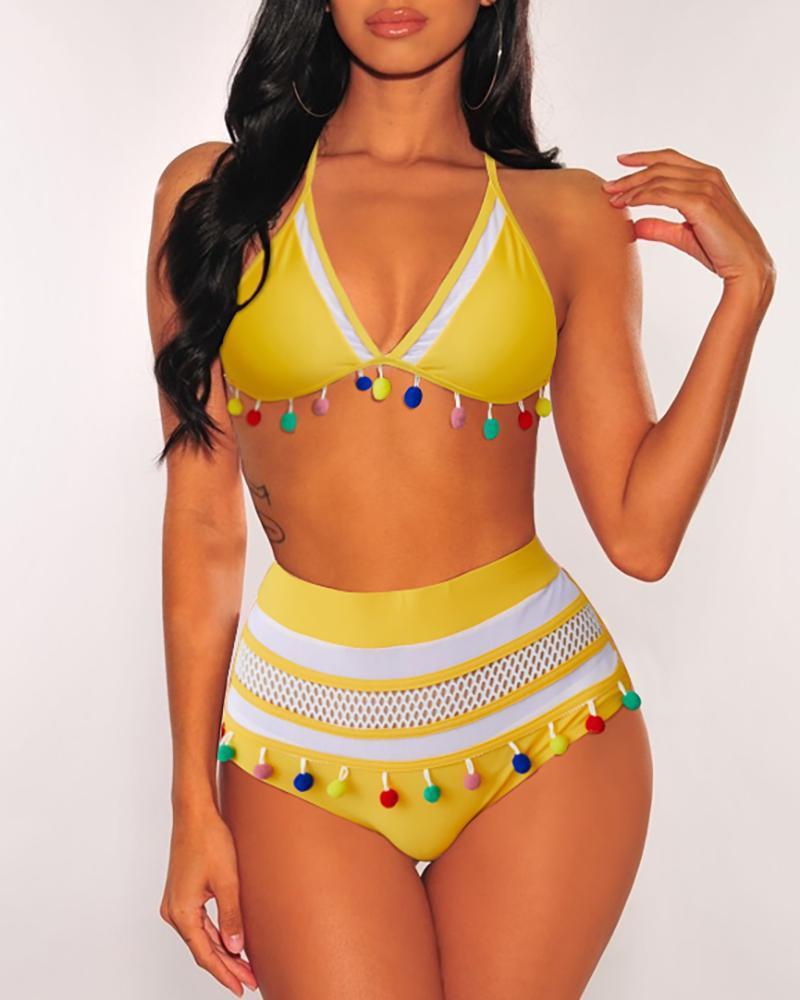 Colorblock Pom Pom High Waist Bikini Set