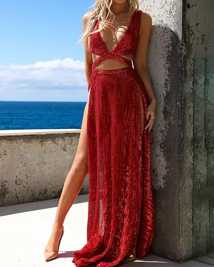 Sequins Deep V High Slit Evening Dress