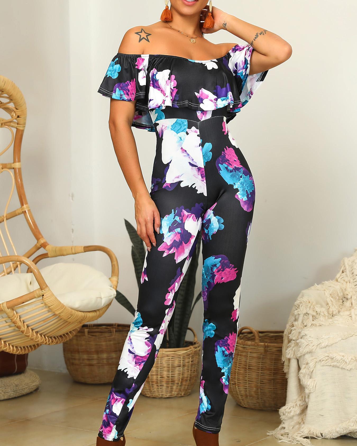 Oversize Ruffles Off Shoulder Floral Print Jumpsuits фото