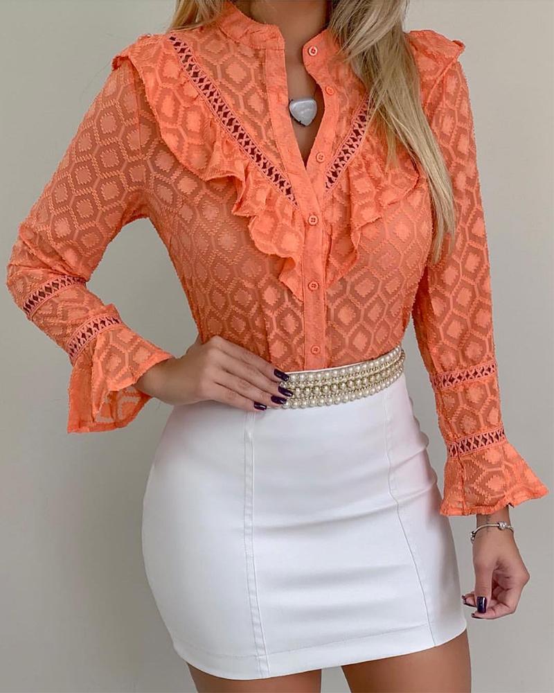 Ruffles Lace Button Through Blouse, Orange