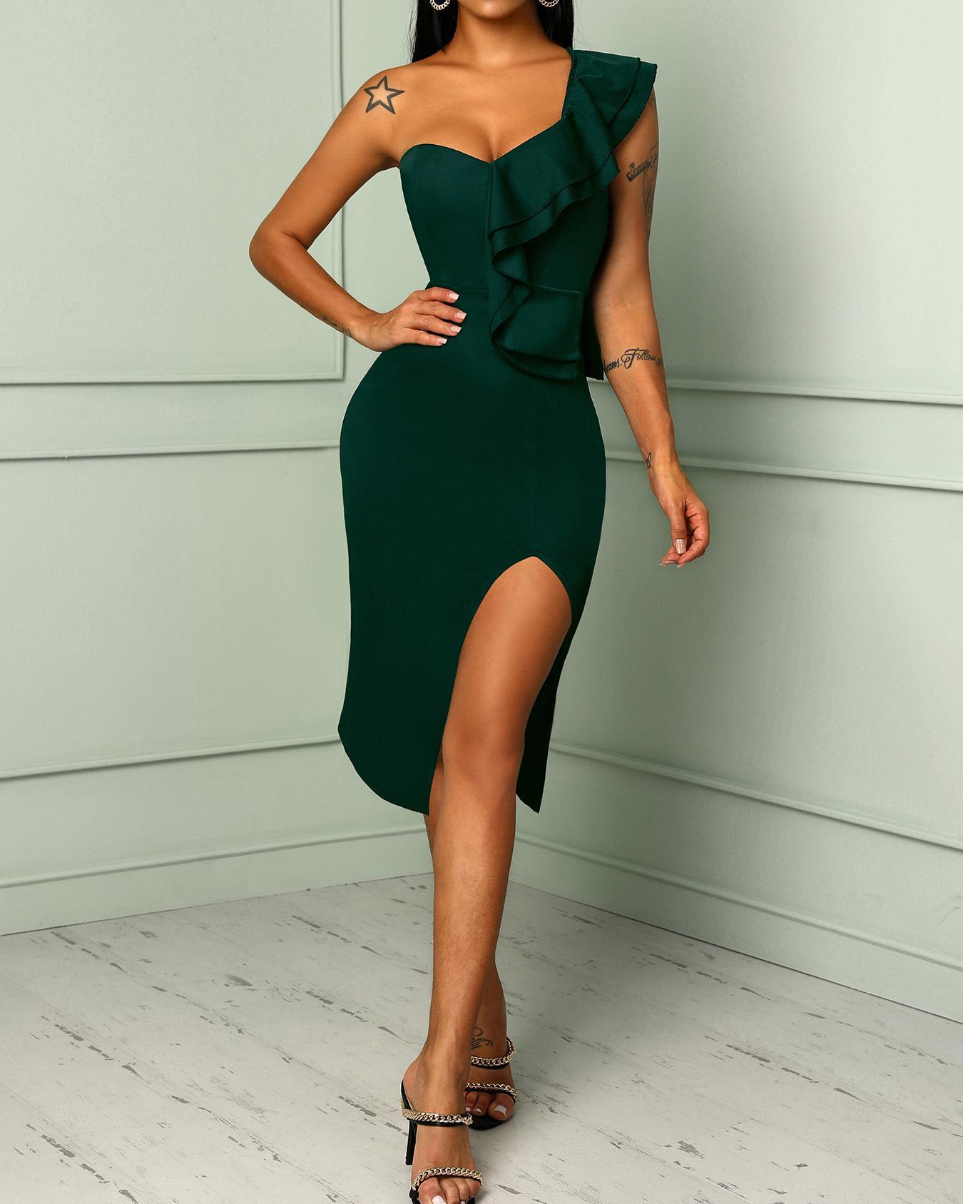 Solid One Shoulder Ruffles Trim Slit Bodycon Dress, Green