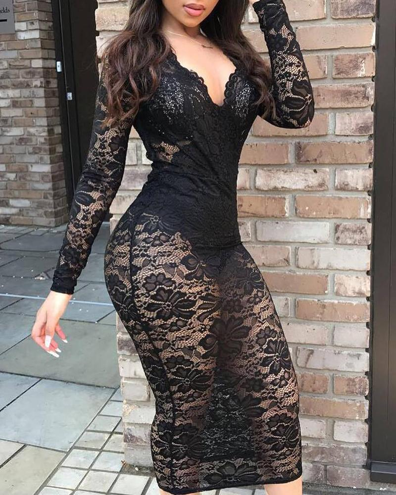ivrose / Lace Floral Embroidery See Through Bodycon Dress