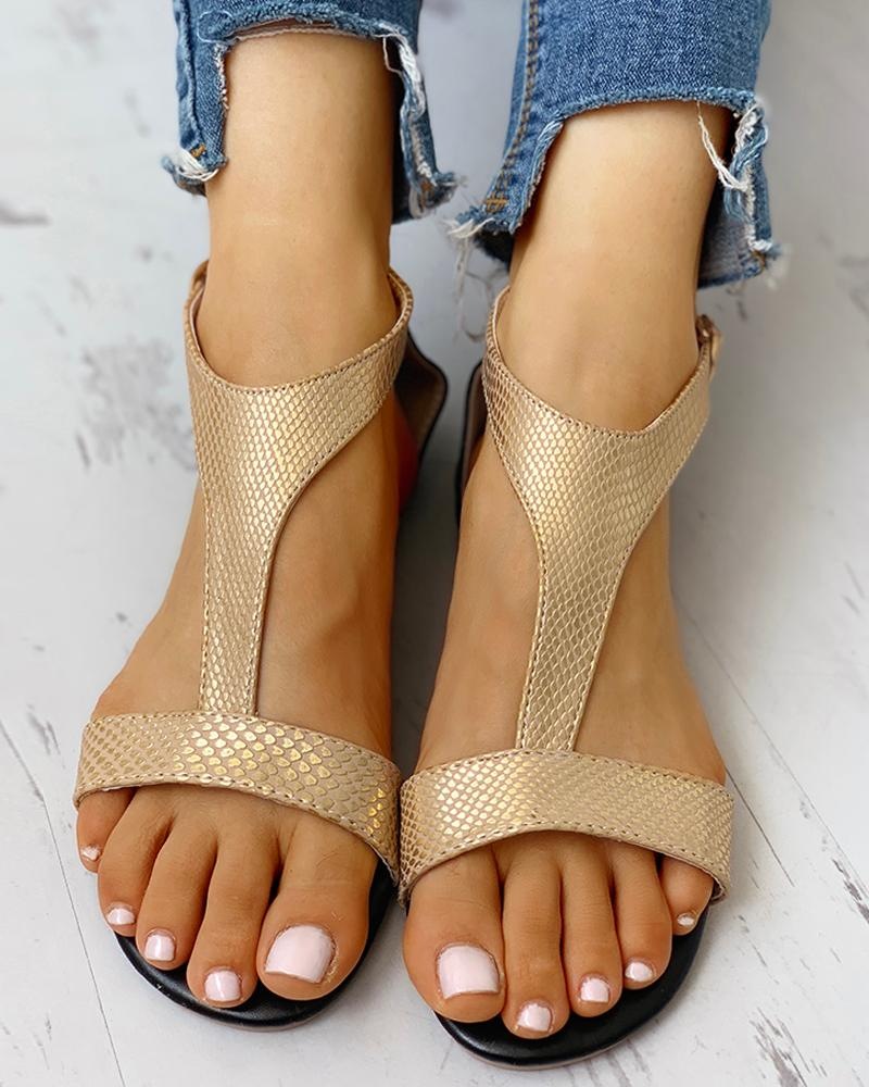 Open Toe T-Strap Design Flat Sandals фото