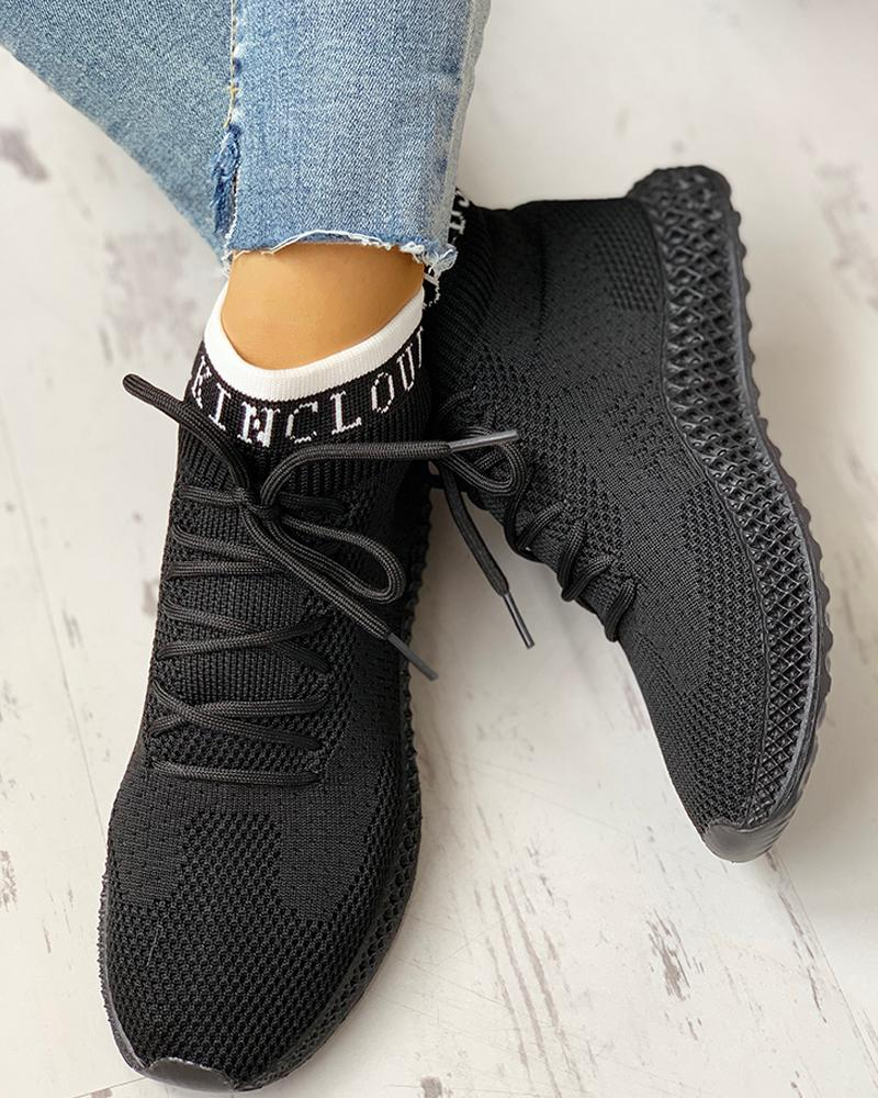 ivrose / Net Surface Breathable Lace-Up Casual Sneakers