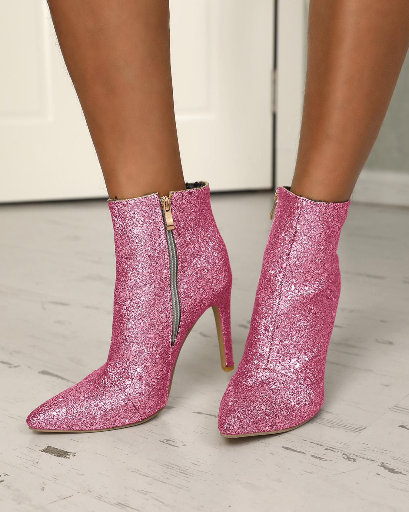 Sequins Side Zipper Pointed Toe Heeled Boots