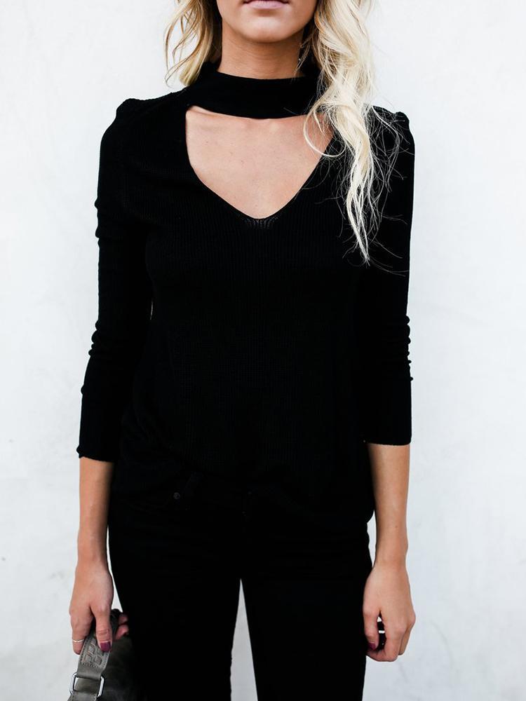 Fashion Choker V Neck Rib Casual Sweater