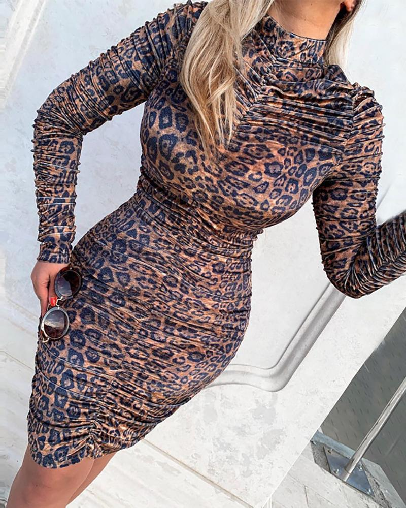 Leopard Long Sleeve Ruched Bodycon Dress фото
