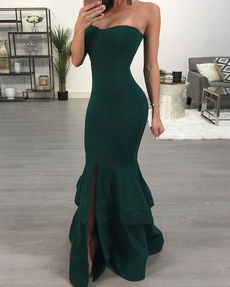 Strapless Slit Mermaid Maxi Bodycon Dress, Green