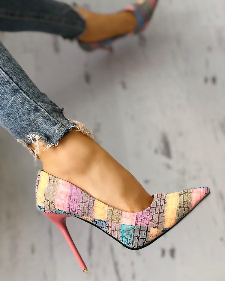 boutiquefeel / Contraste de cores apontou Toe Thin Heels