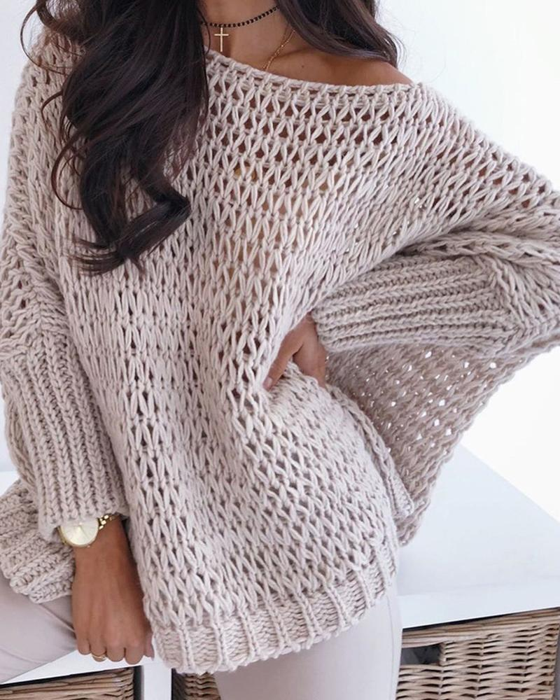 Batwing Sleeve Hollow Out Casual Sweater фото